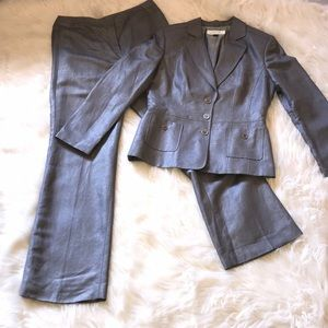 Tahari silver shimmer suit